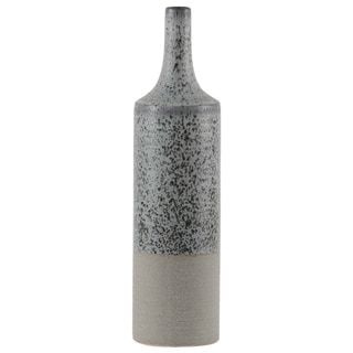 Urban Trends Ceramic Round Bottle Vase with Speckle Design Body and Rough Bottom Band in Coated Finish, Large - Sage - N/A