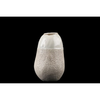 Urban Trends Ceramic Cocoon Shape Vase with Cream Gloss Top in Sponge Texture Design Body in Coated Finish, Small - Cream