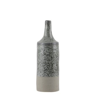Urban Trends Ceramic Round Bottle Vase with Speckle Design Body and Rough Bottom Band in Coated Finish, Small - Sage - N/A