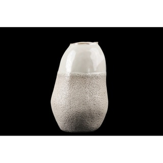 Urban Trends Ceramic Cocoon Shape Vase with Cream Gloss Top in Sponge Texture Design Body in Coated Finish, Medium - Cream