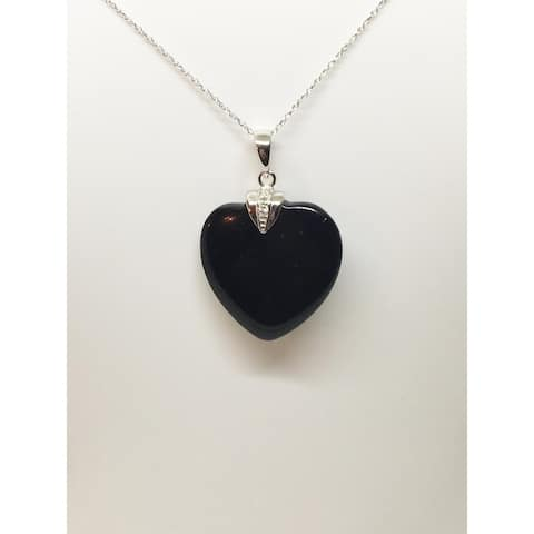 Heart Shape Black Jade and Diamond Pendant in White Gold, by Pearl Lustre