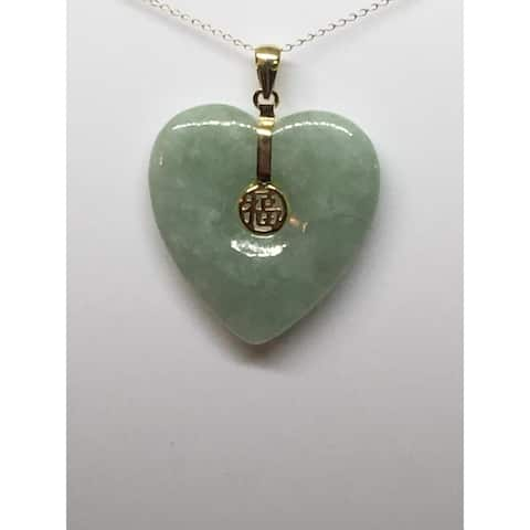 Heart of Genuine Green Jade in Yellow Gold Pendant Necklace, by Pearl Lustre