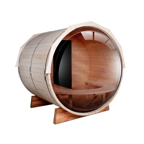 ALEKO Pine Wood Indoor Outdoor Wet Dry Barrel Sauna 5 Person with Heater