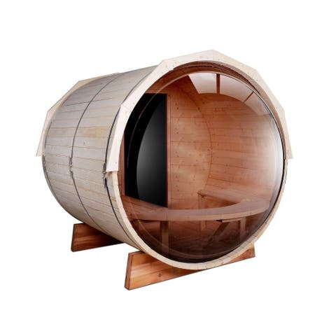 ALEKO Pine Wood Indoor Outdoor Wet Dry Barrel Sauna 5 Person with Heater