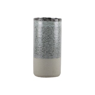 Urban Trends Ceramic Tall Round Vase with Speckled Design Body with Gray Banded Rough Bottom in Coated Finish, Large - Sage