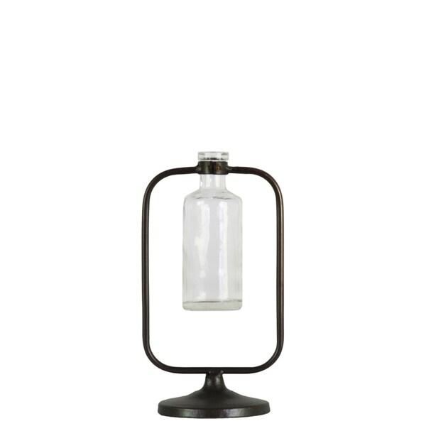 UTC59230: Metal Hanging Bud Vase with Short Glass Bottle Vase on Round Base Metallic Finish Gunmetal Gray