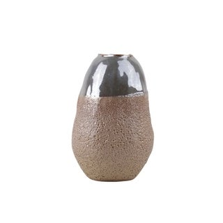 Urban Trends Ceramic Cocoon Shape Vase with Gray Iridescent Top in Sponge Texture Body in Coated Finish, Medium - Blush Pink