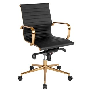 Sleek Black Ribbed Leather with Rose Gold Metal Base Swivel Adjustable Office Chair