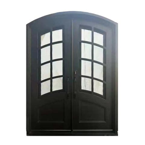 ALEKO Iron Minimalist Glass-Panel Dual Door with Frame and Threshold 92 x 72 Inches