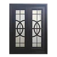 ALEKO Iron Curvature-Designed Dual Door with Frame and Threshold 96 x 72 Inches