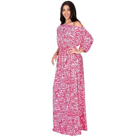 KOH KOH Long Off Shoulder 3/4 Sleeve Sexy Animal Print Maxi Dress Gown