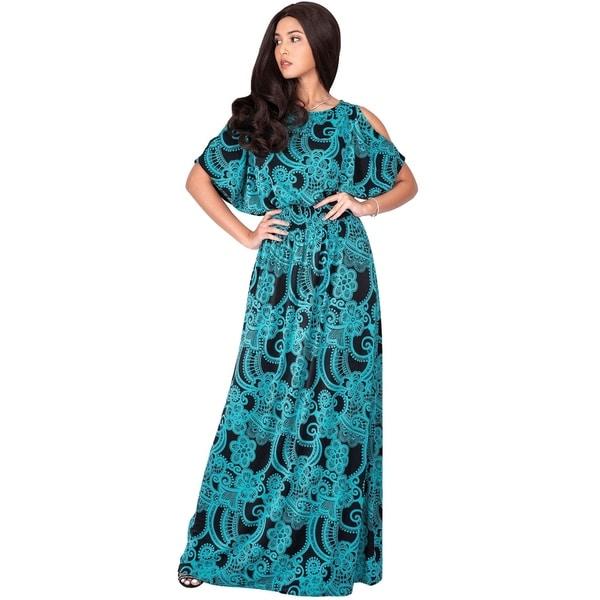KOH KOH Womens Sexy Casual Short Slit Sleeve Printed Long Maxi Dress
