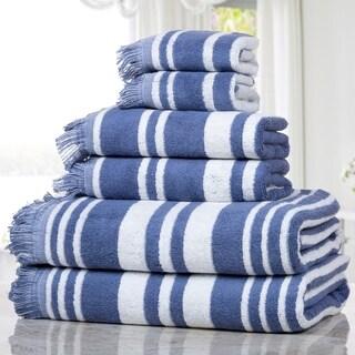 Casa Platino - Multi Stripe with Designer Fringe 6 Piece 100% Cotton Towel Set