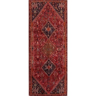 """Abadeh Shiraz Classical Persian Vintage Hand Knotted Wool Rug Tribal - 9'2"""" x 3'8"""" Runner"""