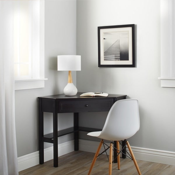 Simple Living Black Wood Corner Computer Desk with Drawer