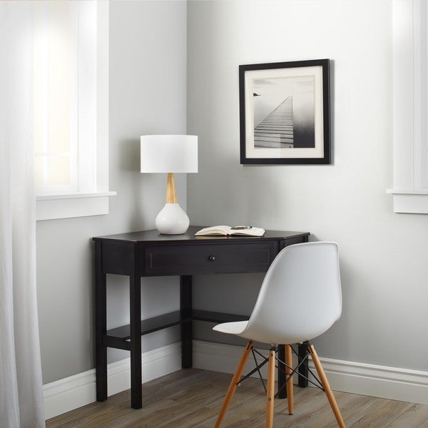Simple Living Black Wood Corner puter Desk with Drawer