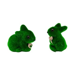 Faux moss bunny pair