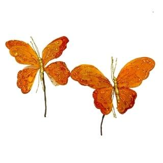 Glittered velvet and lace butterfly picks (Set of 2)