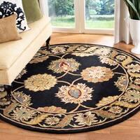 Safavieh Handmade Heritage Timeless Traditional Black Wool Rug - 6' x 6' Round