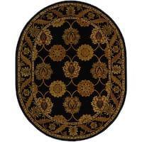 "Safavieh Handmade Heritage Timeless Traditional Black Wool Rug - 4'-6"" X 6'-6"" Oval"