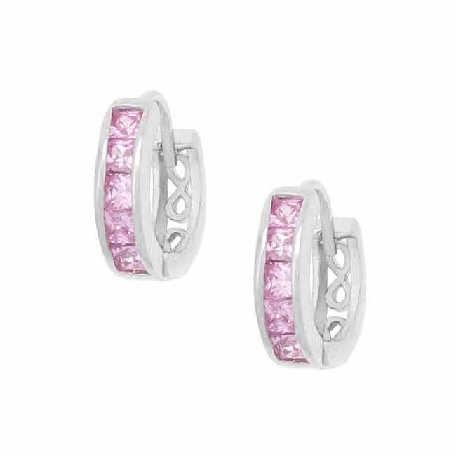 Icz Stonez Sterling Silver Mini Pink CZ Hoop Earrings