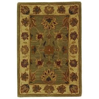 Safavieh Handmade Heritage Traditional Kerman Green/ Gold Wool Rug (2' x 3')