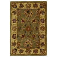 Safavieh Handmade Heritage Traditional Kerman Green/ Gold Wool Rug - 2' x 3'