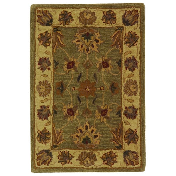 Safavieh Handmade Heritage Traditional Kerman Green/ Gold Wool Rug (2' x 3')