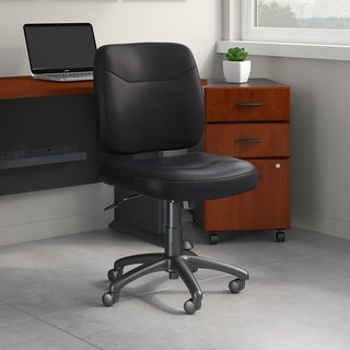 Bush Business Furniture Stanton Leather Task Chair in Black