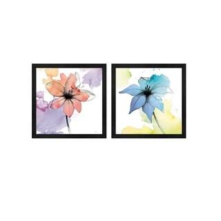 Avery Tillmon 'Watercolor Graphite Flower A' Framed Art (Set of 2)