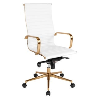 Sleek High-Back White Ribbed Leather with Rose Gold Metal Base Executive Adjustable Swivel Office Chair