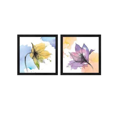 Avery Tillmon 'Watercolor Graphite Flower B' Framed Art (Set of 2)