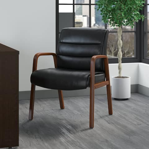 Bush Business Furniture Soft Sense Leather Guest Chair with Wood Arms