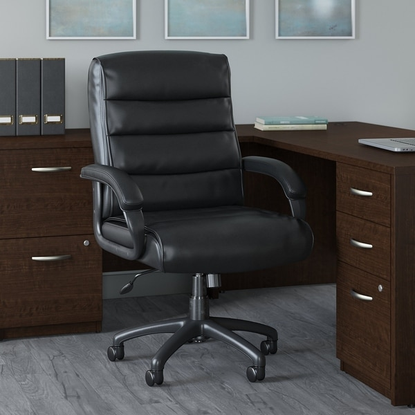Bush Business Soft Sense Mid Back Leather Executive Office Chair