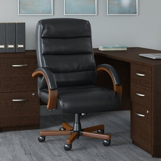Soft Sense High Back Leather Executive Office Chair with Wood Arms