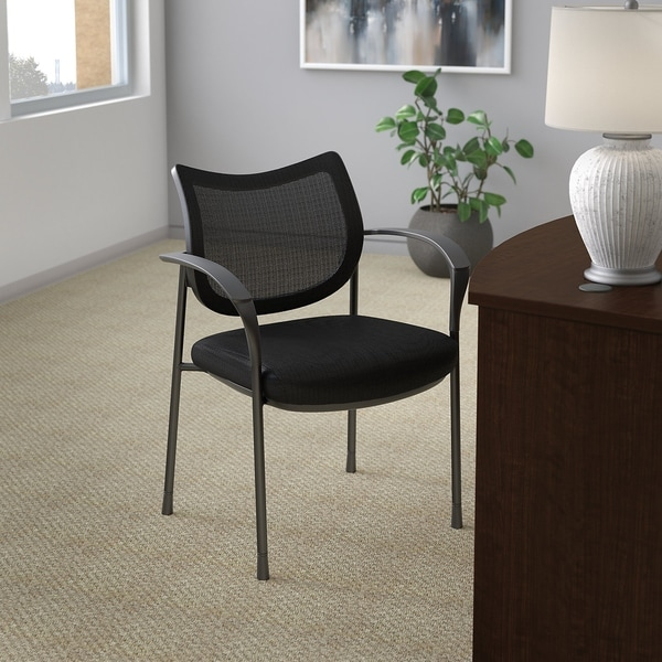 Bush Business Furniture Corporate Mesh Back Guest Chair in Black