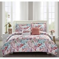 Porch & Den Schieffer Coral and Aqua Sea Life 5-piece Comforter Set