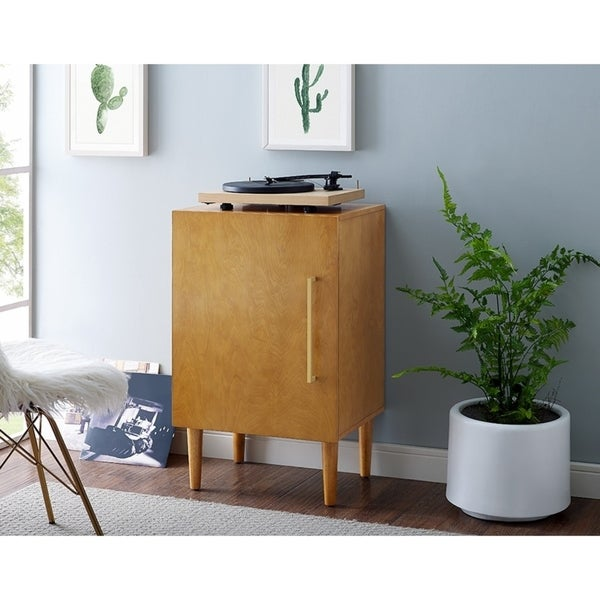 Crosley Furniture Everett Acorn Finished Veneer Record Player Stand