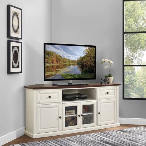 "Shelby 60"" Corner Tv Stand In White With Mahogany Top"