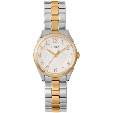 c8dfe1ad1 Timex Women's TW2T45500 Briarwood 28mm Two-Tone/White Stainless Steel Expansion  Band Watch