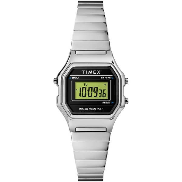 7f3ce92a3 Shop Timex Women's TW2T48200 Classic Digital Mini Silver-Tone/Black  Stainless Steel Expansion Band Watch - Free Shipping On Orders Over $45 -  Overstock - ...