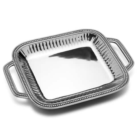 Wilton Armetale Flutes Pearls Rectangular Tray with Handle