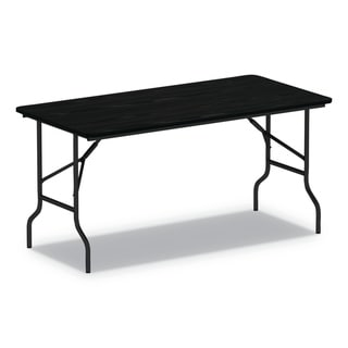 Alera Wood Folding Table, Black