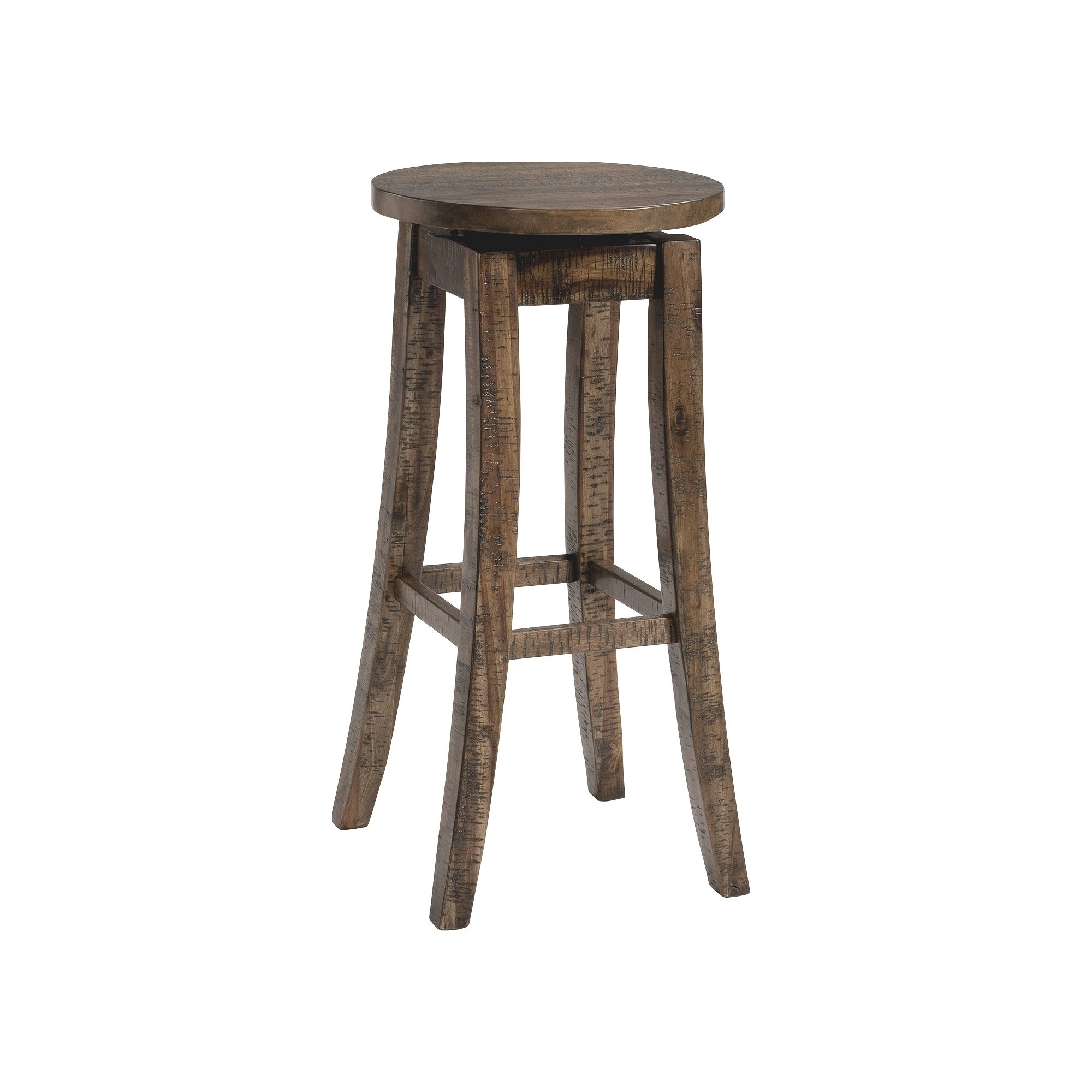 Picket House Furnishings Flynn Walnut Finush Wood 30 Inch Swivel Backless Bar Stool Set Of 2