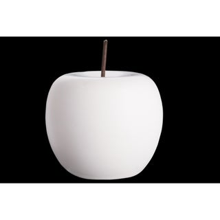 UTC50966: Porcelain Apple Figurine with Stem LG Matte Finish White