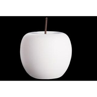 UTC50966: Porcelain Apple Figurine with Stem LG Matte Finish White