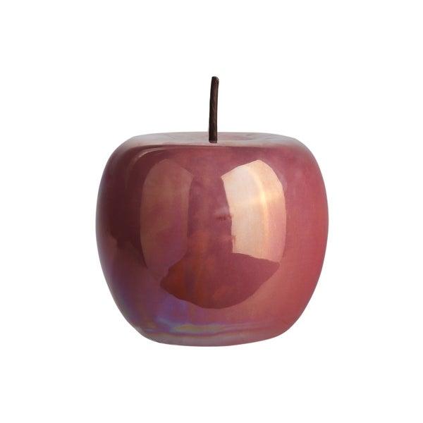 UTC50968: Ceramic Apple Figurine with Stem LG Polished Pearlescent Finish Dusty Rose