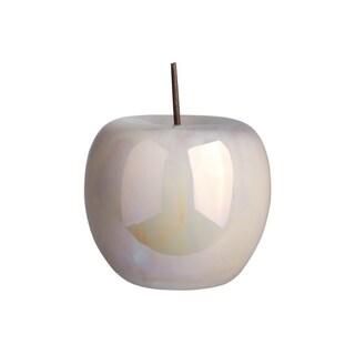 UTC50962: Ceramic Apple Figurine with Stem SM Polished Pearlescent Finish Off-White