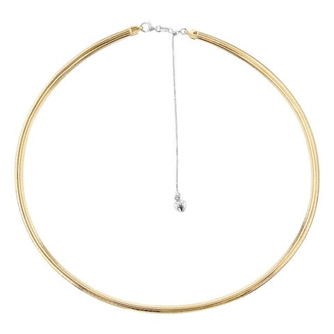 14Kt Yellow Gold and Silver 3 mm Italian Reversible Omega Necklace Adjustable 16-20 Inch by Beverly Hills Charm