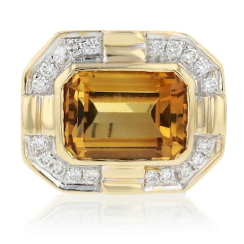 14K Yellow Gold Citron Stone Cocktail Ring